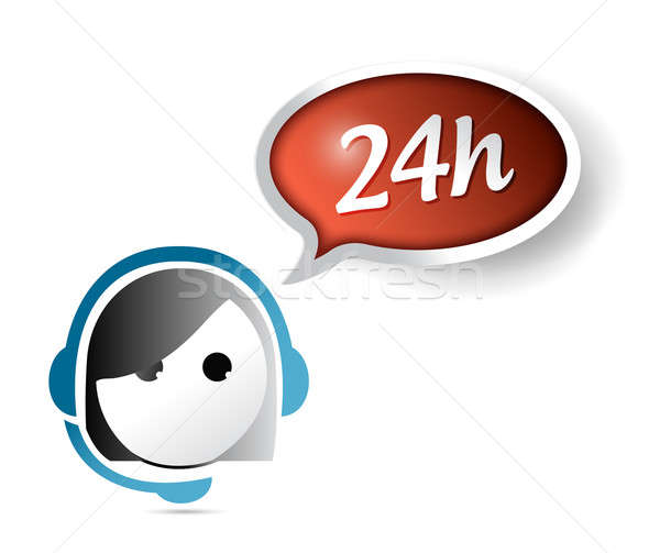 24 hour customer support illustration design over white Stock photo © alexmillos