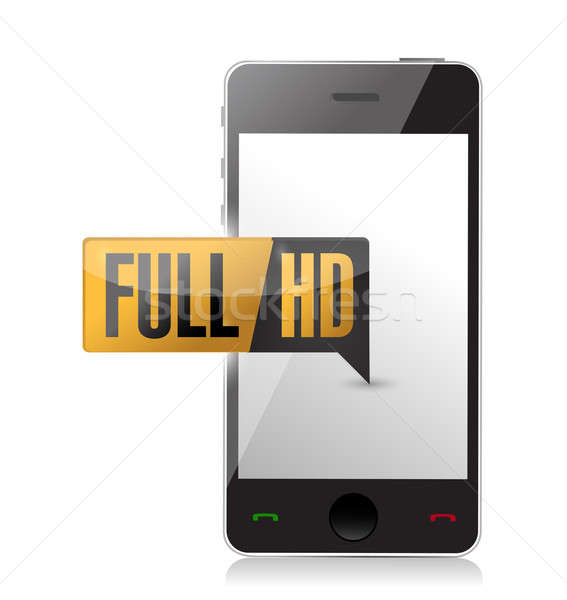 Smartphone with Full HD. High definition button Stock photo © alexmillos