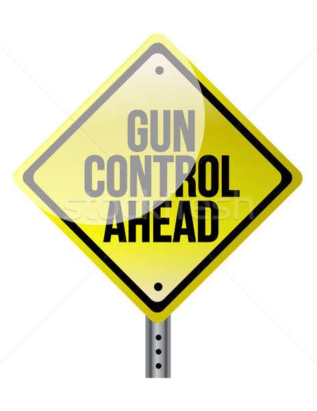 Vigyázat felirat fegyver szabályozás fehér ötlet ötlet Stock fotó © alexmillos