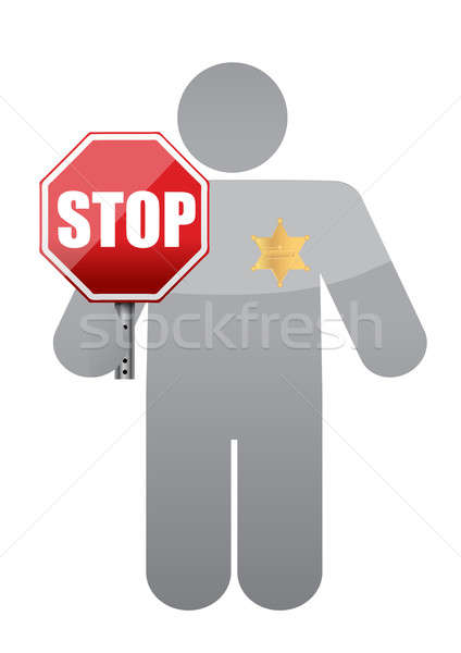 Icon holding a stop sign. sheriff authority  Stock photo © alexmillos
