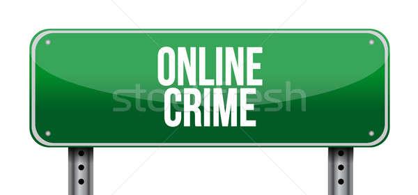 Online bűnözés jelzőtábla illusztráció terv számítógép Stock fotó © alexmillos