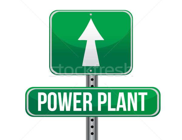 Energiecentrale verkeersbord illustratie ontwerp witte weg Stockfoto © alexmillos