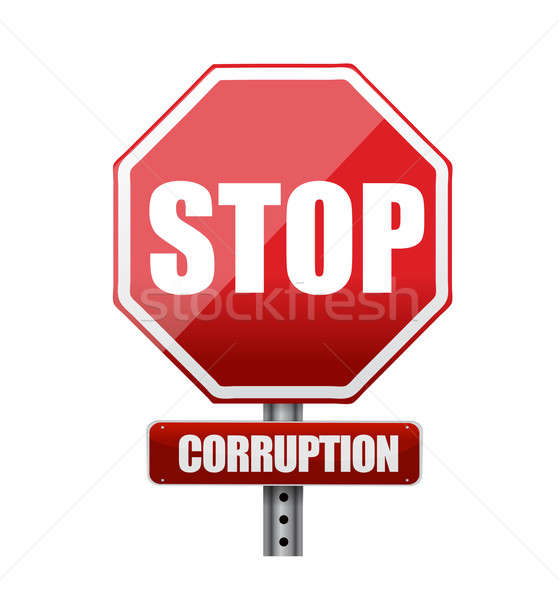 Stop corruption road sign illustration Stock photo © alexmillos