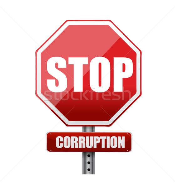Pare corrupção placa sinalizadora ilustração projeto branco Foto stock © alexmillos