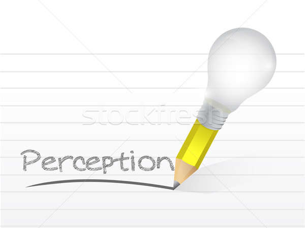 perception written with a light bulb idea pencil Stock photo © alexmillos