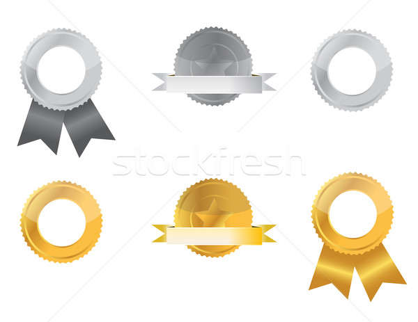 Gold and Silver seals isolated over a white background. Stock photo © alexmillos