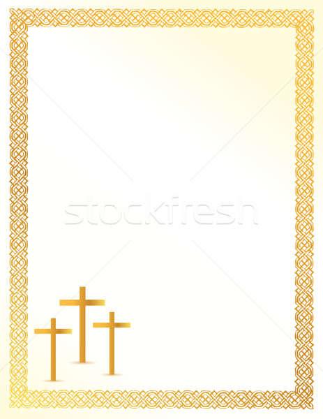 Christian crosses card illustration design Stock photo © alexmillos