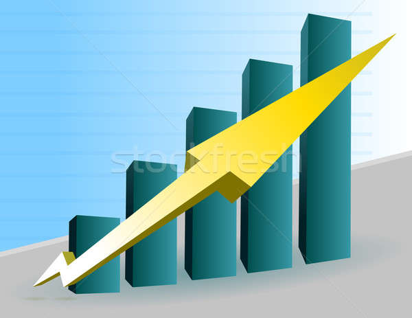 Business Graph with arrow showing profits and gains Stock photo © alexmillos