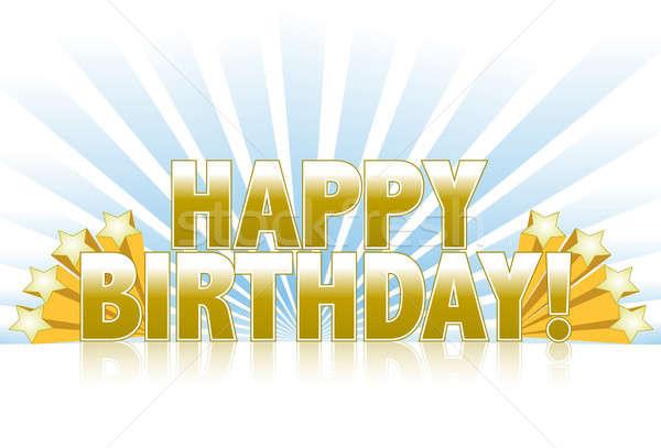 Joyeux anniversaire logo signe or étoiles Photo stock © alexmillos