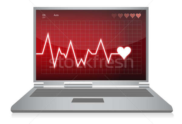 Heart beats - electrocardiogram monitor illustration design Stock photo © alexmillos