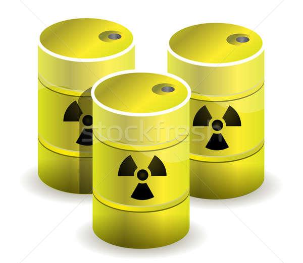 radioactive symbol imprinted onto a nuclear waste barrels Stock photo © alexmillos