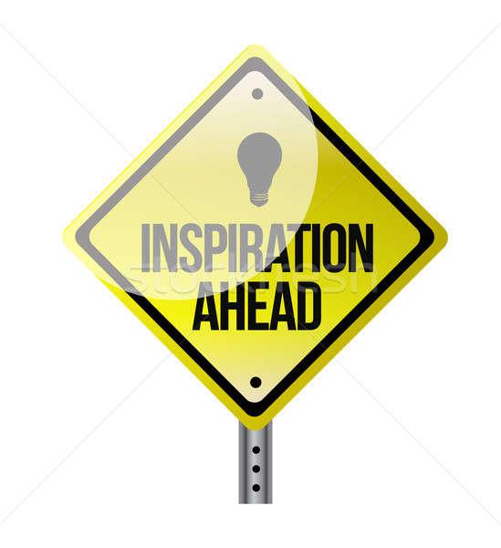 inspiration ahead road sign illustration design over white Stock photo © alexmillos