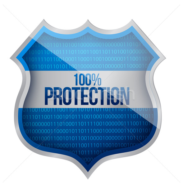 Stock photo: 100% Protection concept illustration design over a white backgro