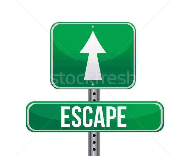 escape road sign illustration design over white Stock photo © alexmillos