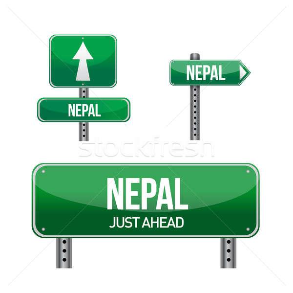 Непал знак иллюстрация дизайна белый Сток-фото © alexmillos