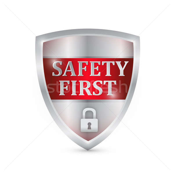 safety first shield illustration design over white Stock photo © alexmillos