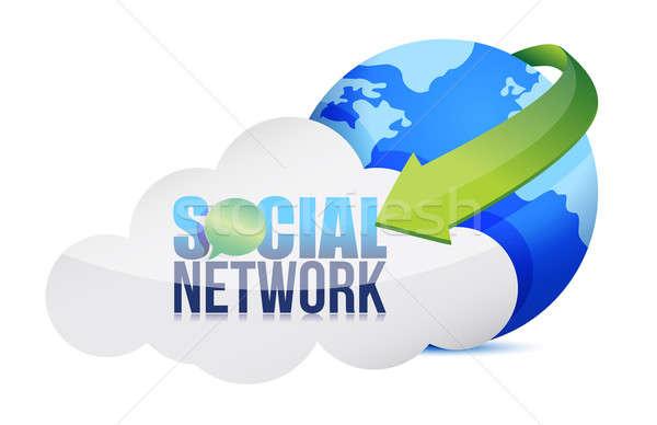 Médias sociaux nuage illustration design blanche Retour Photo stock © alexmillos