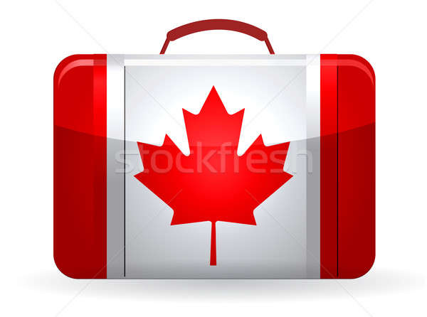 Canadian flag on a suitcase for travel illustration design Stock photo © alexmillos