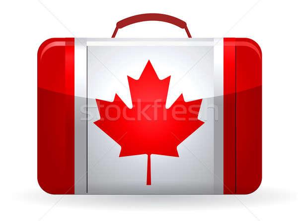 Drapeau canadien valise Voyage illustration design fond Photo stock © alexmillos