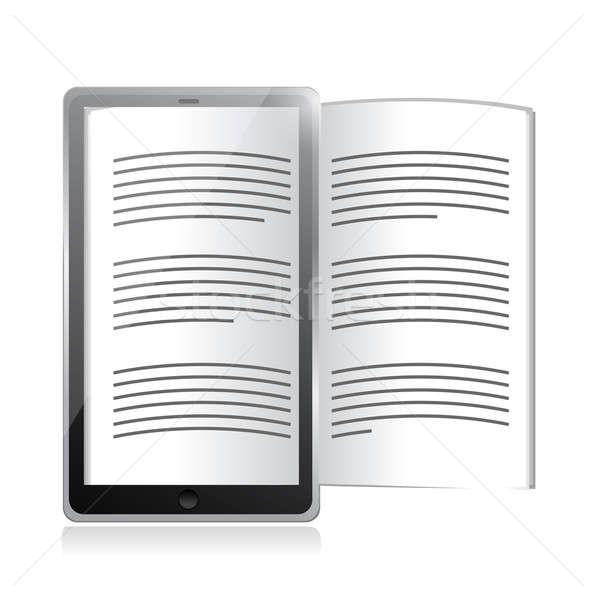 Ebook lezer tablet illustratie ontwerp witte Stockfoto © alexmillos