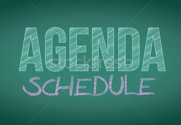 Agenda schema bericht geschreven Blackboard illustratie Stockfoto © alexmillos