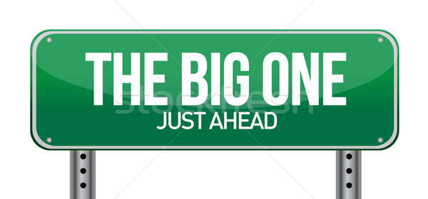 The Big One Green Road Sign illustration design over white Stock photo © alexmillos