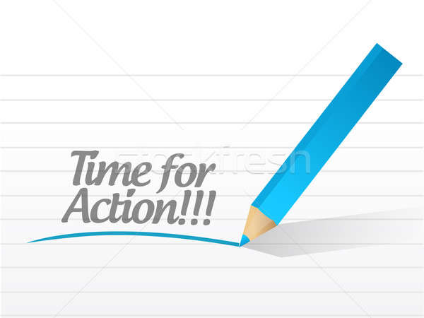 time for action written on a white paper illustration design Stock photo © alexmillos