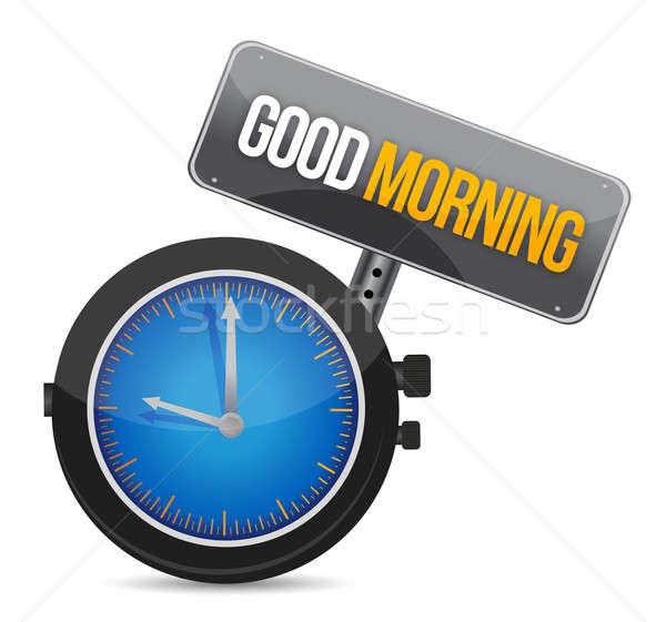Saat metin sabah iyi örnek dizayn yüz Stok fotoğraf © alexmillos