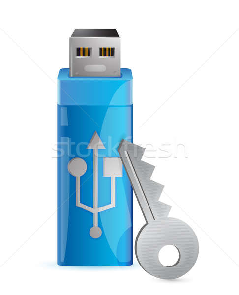 Information protection. Usb flash memory and key illustration de Stock photo © alexmillos
