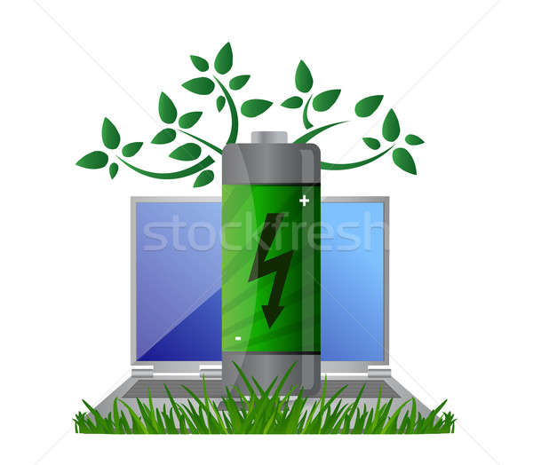 Green energy and notebook illustration design concept Stock photo © alexmillos