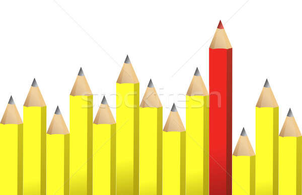 Sarı kalemler bir kırmızı mum boya örnek Stok fotoğraf © alexmillos