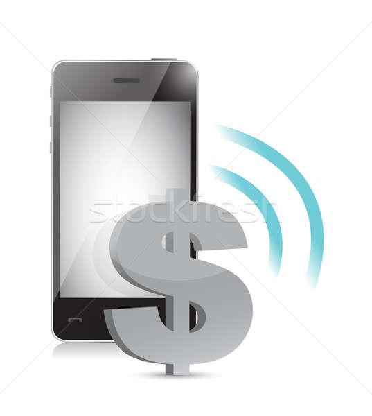 Dólar moeda gestão telefone móvel ilustração dinheiro Foto stock © alexmillos