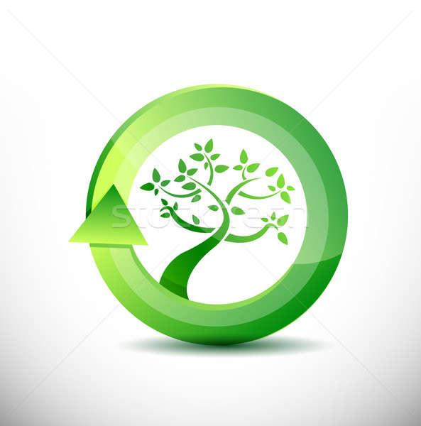 Umwelt Baum umweltfreundlich Blatt Glas Kunst Stock foto © alexmillos