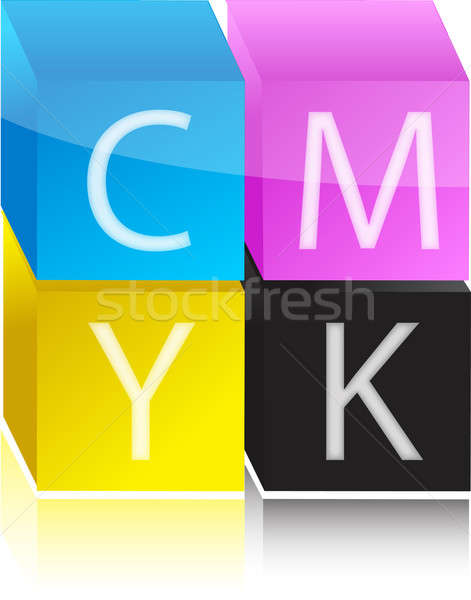 cmyk color cubes illustration design over white background Stock photo © alexmillos
