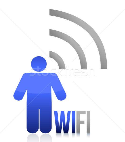 Blauw wifi persoon icon illustratie ontwerp Stockfoto © alexmillos