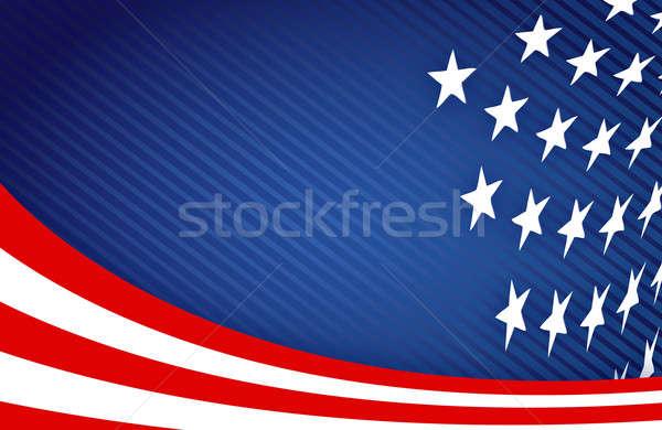Amerykańską flagę projektu streszczenie gwiazdki niebieski czerwony Zdjęcia stock © alexmillos