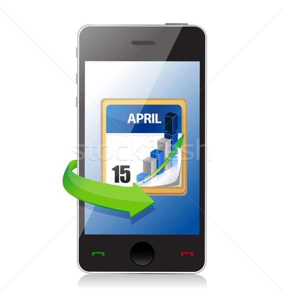Teléfono impuesto fecha tope calendario ilustración diseno Foto stock © alexmillos