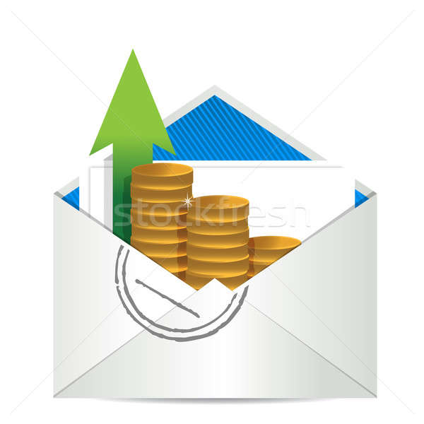 Stok fotoğraf: Zarf · madeni · para · ofis · posta · finanse · hizmet