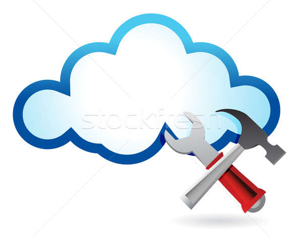 Erholung Cloud Computing Illustration Design weiß Internet Stock foto © alexmillos