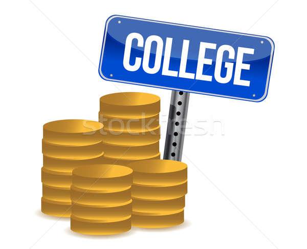 Stock fotó: Főiskola · megtakarított · pénz · illusztráció · terv · fehér · egészség