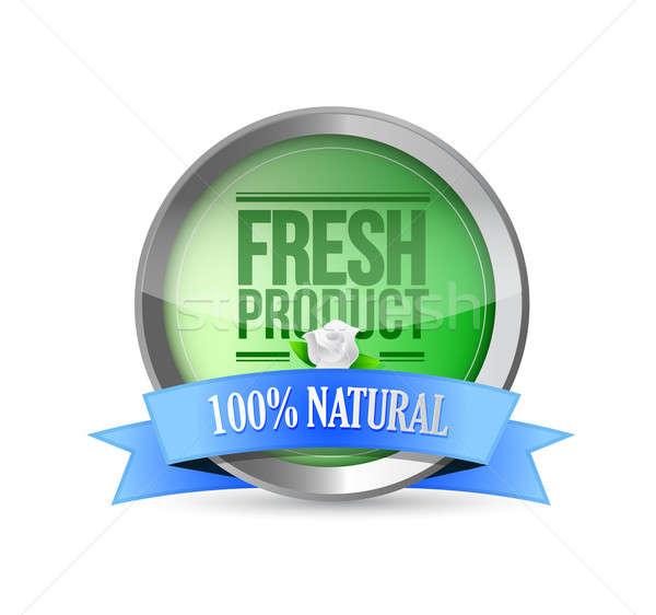 Vers voedsel product schild goedkeuring illustratie bloem Stockfoto © alexmillos