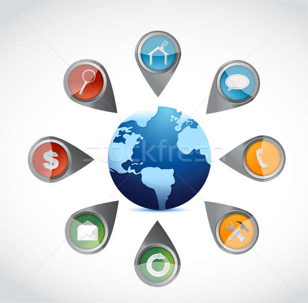 Apps and tools around a globe. illustration  Stock photo © alexmillos