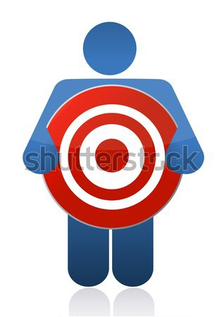 Guy Holding Copyright sign illustration Stock photo © alexmillos