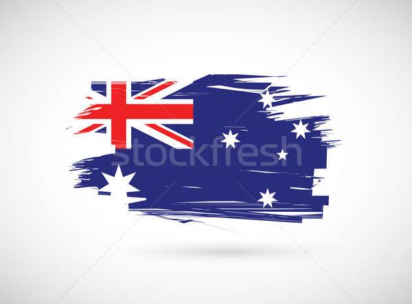 Гранж чернила австралийский флаг иллюстрация силуэта Сток-фото © alexmillos