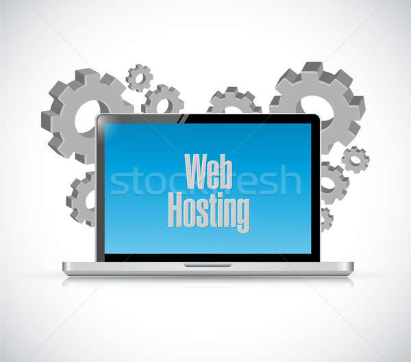 Háló hosting laptop számítógép felirat illusztráció grafikai tervezés Stock fotó © alexmillos