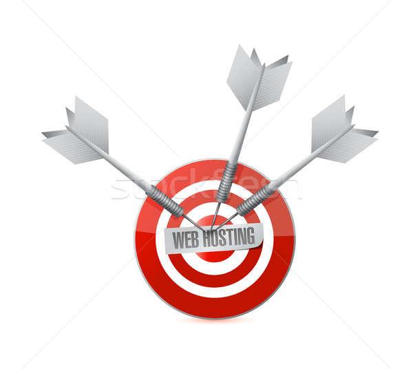 Háló hosting cél felirat illusztráció grafikai tervezés Stock fotó © alexmillos
