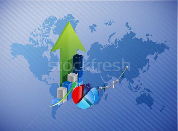 Világtérkép üzlet profit illusztráció terv térkép Stock fotó © alexmillos