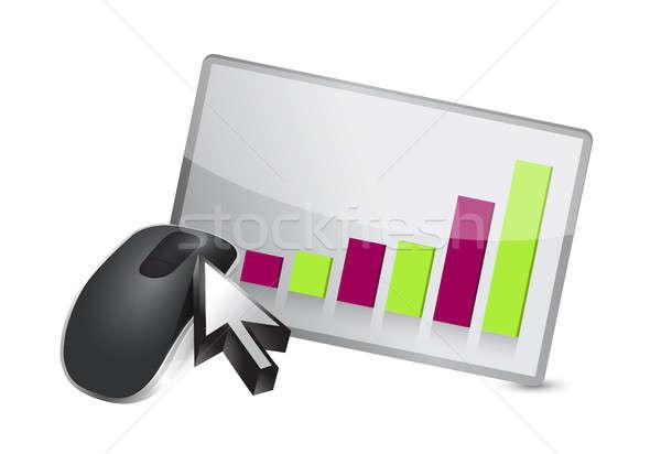 Iş grafik kablosuz bilgisayar fare yalıtılmış beyaz bilgisayar Stok fotoğraf © alexmillos