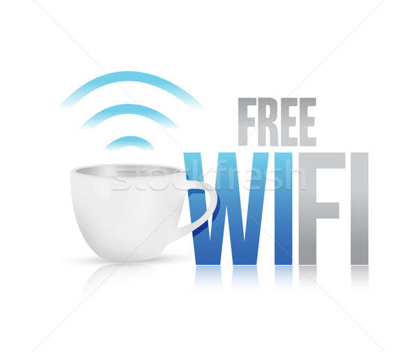 Libre wifi tasse de café illustration design blanche Photo stock © alexmillos