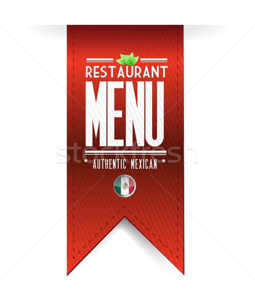 Mexikói étterem textúra szalag illusztráció fehér Stock fotó © alexmillos